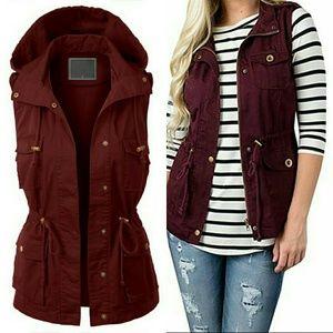 Jackets & Blazers - Utility Military vest - WINE